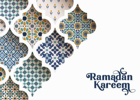 彩色装饰阿拉伯瓷砖的特写,通过白色清真寺窗户的图案。贺卡,穆斯林斋月请柬。矢量插图背景,现代网络横幅。