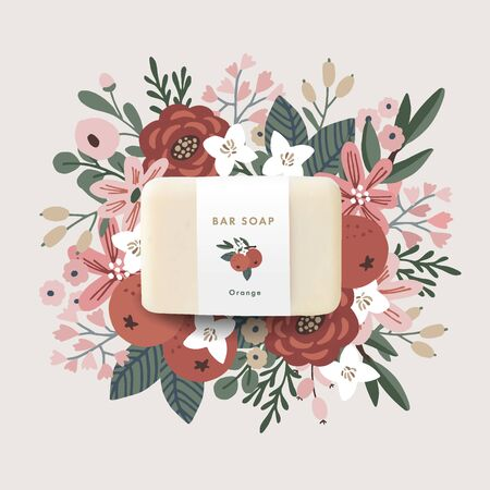 3D realistic bar soap illustration mock-up, template with paper label. Hand drawn orange fruit, leaves and flowers. Vector floral background. Hygiene, spa and herbal cosmetics product branding concept