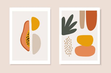 Set of summer artistic greeting cards, invitations. Cut papaya fruit, palm leaf and abstract geometric shapes. Modern minimalist vector drawing, web banners. Tropical posters, wall art, brochure cover Ilustração Vetorial