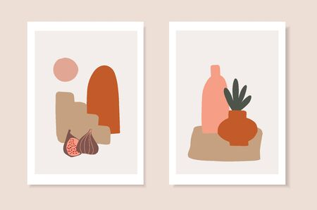 Set of summer artistic, journaling greeting cards, invitations. Cut figs, ceramics, stairs and abstract geometric shapes. Modern minimalist vector drawing. Trendy posters, wall art, brochure covers.