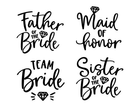 Wedding lettering set. Black hand lettered quotes with diamond rings for greeting cards, gift tags, labels. Typography collection. Love concept. Isolated vector illustrations. Broom and bride design. 벡터 (일러스트)