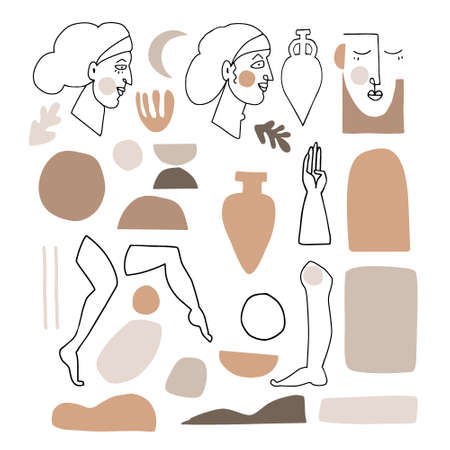 Vector set of artistic and abstract graphic objects. Illustrations of female portraits and vase silhouette in minimal linear style. Modern cubism art with geometric shapes. Beauty and fashion concept.