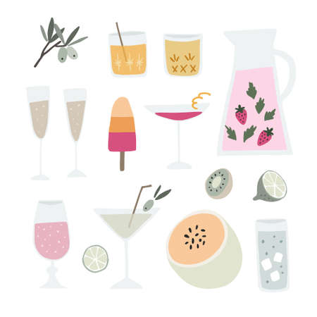 Collection of hand drawn alcoholic drinks, cocktails and fruit. Summer holiday, beach party and celebration. Isolated vector object, icons. Flat design. Watermelon, strawberry and olive tree branches.