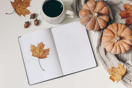 Autumn breakfast composition. Blank open notepad, diary mockup. Cup of coffee, pumpkins, plaid, maple leaves and acorns. Muslin table cloth background. Thanksgiving, Halloween. Flat lay. Top view.