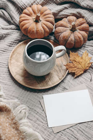 Fall styled composition. Autumn breakfast still life. Blank greeting card mock-up scene with cup of coffee, wool blanket, maple leaf and pumpkins. Cotton table cloth background. Thanksgiving. Vertical Stock fotó