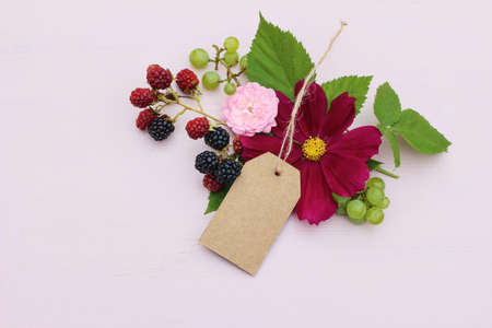 Autumn floral and fruit still life composition. Closeup of blank gift tag, label mock-up scene. Blackberries, grapes, rose and cosmos flowers on pink table background, seasonal sale concept, no people. Stock fotó