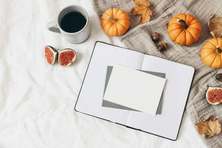 Autumn breakfast composition. Empty open notebook. Greeting card mockup. Cup of coffee, colorful leaves, figs and orange pumpkins. White linen background. Thanksgiving, Halloween. Flat lay, top view.