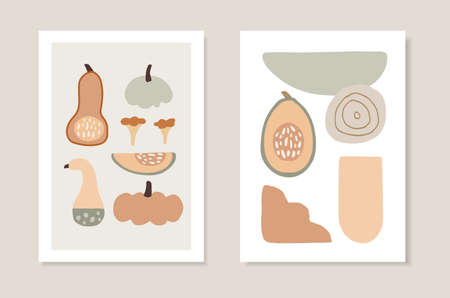 Set of autumn artistic greeting cards, invitations. Cut pumpkins vegetable, mushrooms and abstract geometric shapes. Modern minimalist vector drawings. Fall, Thanksgiving or kitchen posters, wall art