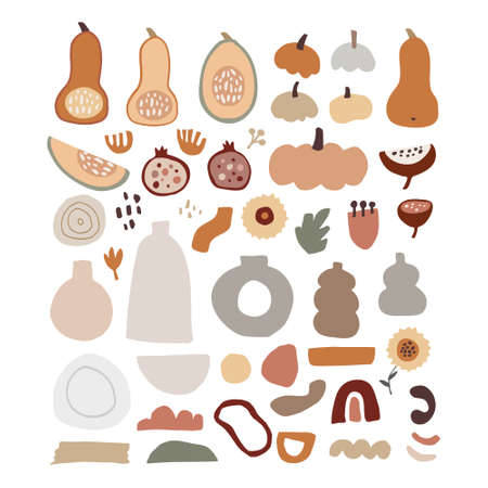 Set of modern abstract hand-drawn autumn elements. Pumpkins, squash vegetable, pomegranate fruit and flowers. Rainbow and geometric objects. Fall concept. Isolated natural flat vector illustrations.