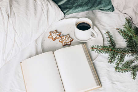 Christmas festive still life. Blank open book, diary mockup with cup of coffee, gingerbread cookie and spruce tree branches on ceramic plate. Holiday background. Breakfast in bed. Velvet cushions.