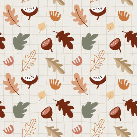 Seamless pattern with various colorful fall leaves, fruit and flowers. Thanksgiving or Halloweeen concept. Autumn design for textile, fabric and scrapbooking. Vector checkered illustration background.