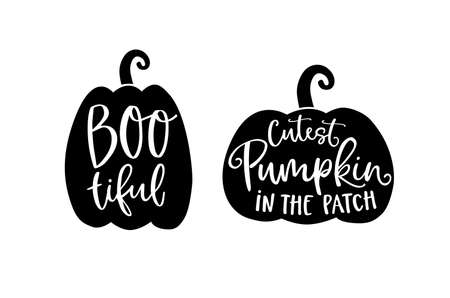 Set of cute Halloween holiday greeting cards, invitations with hand drawn black silhouette of pumpkins and white hand-lettered text. Vector illustration background. Craft cut files design.