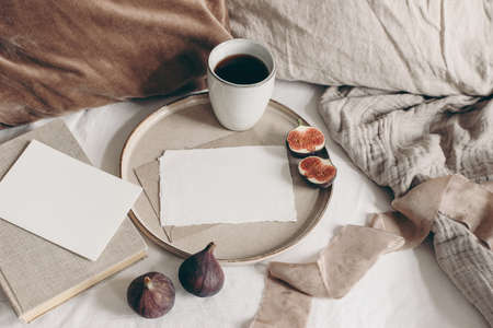Fall breakfast still life. Fig fruit, book and cup of coffee on ceramic plate. Blank greeting cards mockups, linen background. Velvet and linen pillows in bed. Thanksgiving, autumn concept. Top view. Stock Photo