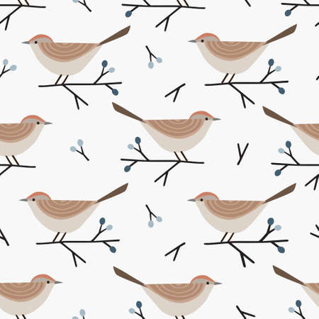 Christmas seamless pattern with cute little birds and blue blackthorn branches and berries. Cute Scandinavian winter design for scrapbooking, gift paper wrapping and textile. White background.