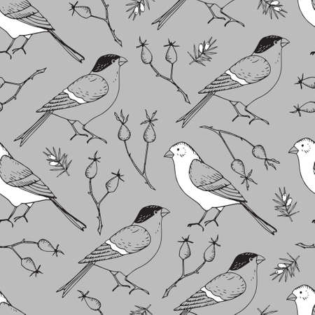 Elegant hand drawn Christmas seamless pattern with bullfinch and goldfinch birds and rose hips. Winter vintage engraving design. Grey vector illustration background. Floral tile for fabrics, textile.