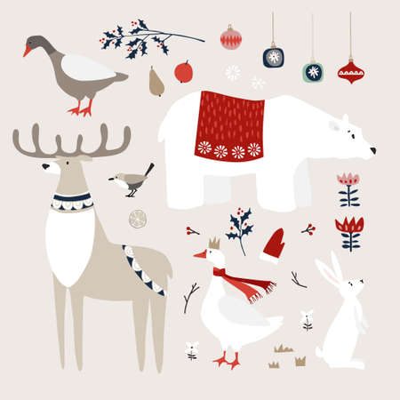 Set of cute Christmas animals, birds and decoratione icons. Polar bear, deer and goose birds with white rabbit. Christmas ornaments with holly, fruit and flowers. Vintage flat design. Isolated vectors