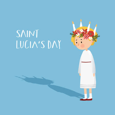 Little blonde girl with floral wreath and candle crown and long shadow. Saint Lucia. Swedish Christmas tradition, vector illustration background, flat design. Vektoros illusztráció