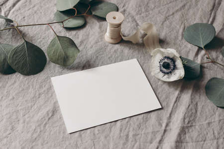 Wedding stationery mock-up scene. Blank greeting card on linen tablecloth background with white anemone flower, eucalyptus tree branches and silk ribbon. Feminine still life composition. High angle. 写真素材