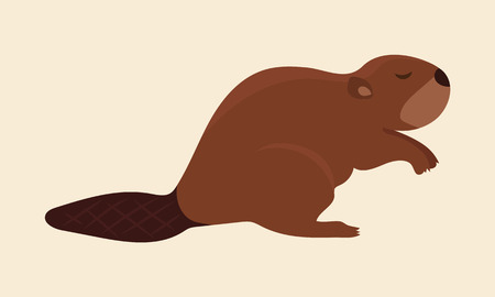 Brown cute beaver vector art with creme khaki background