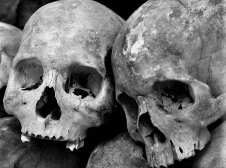 atrocity: human skulls at the killing fields Stock Photo