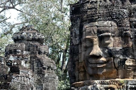 khmer: face of the bayon temple,angkor thom,cambodia