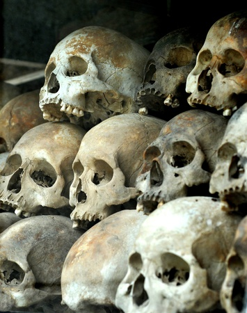 penh: human skulls at the killing fields Stock Photo
