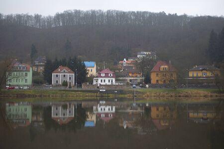 vltava: Buildings in Prague district Sedlec by the river Vltava