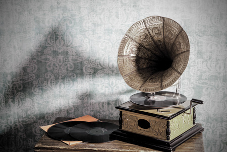 An old gramophone with long-playing Stock Photo