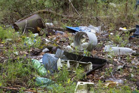 soil pollution: Garbage in the forest, rubbish dump Stock Photo