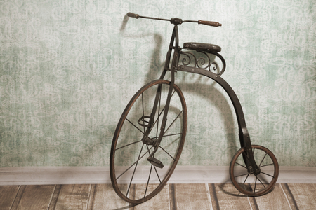 Historical childrens high-wheel bicycle