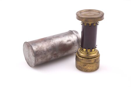 darkroom: Vintage pocket darkroom lamp with ruby glass, photographic equipment, white background Stock Photo