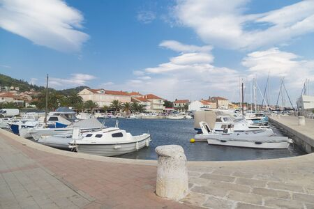 Marina with boats in a Croatian town Preko, Ugljan Island, Europe