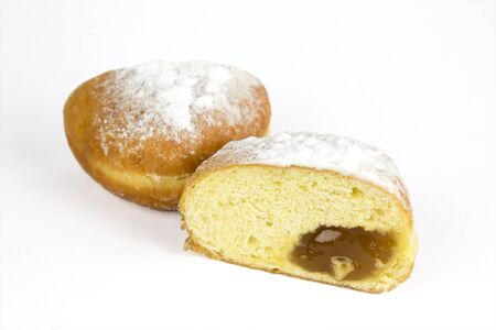 Fresh european donut on a white background, berliner