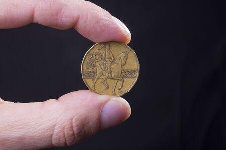 czech republic coin: czech crown coin, national currency of the Czech republic, Europe