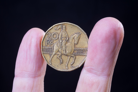 czech crown coin, national currency of the Czech republic, Europe
