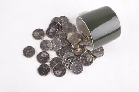 czech crown coins, national currency of the Czech republic Stock Photo
