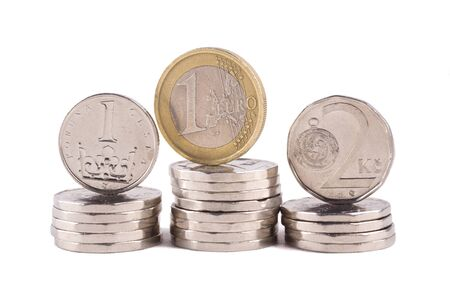 czech crown and euro coins, national currency of the Czech republic