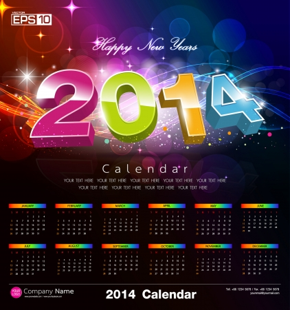 Happy new year Calendar 2014
