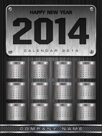 Metal Calendar 2014 Background Ilustração
