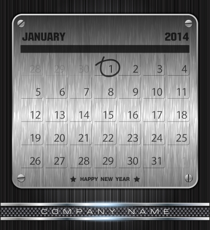 Metal January Calendar 2014 Happy New Year