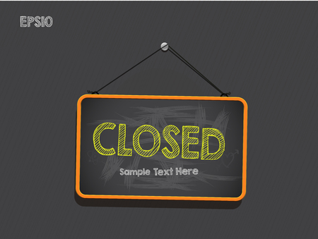 Blackboard Sign Closed Vector Background