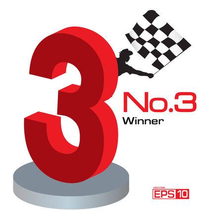 racing sign: Trophy Winner Number 3 Illustration