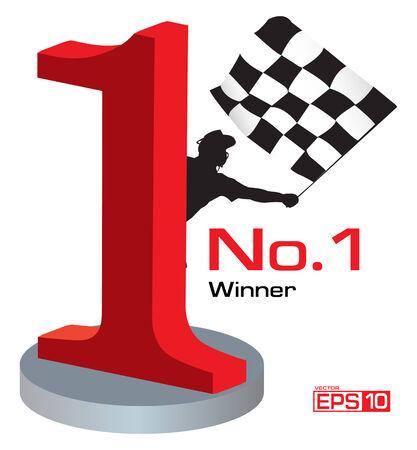 Trofee winnaar Number 1 Stock Illustratie
