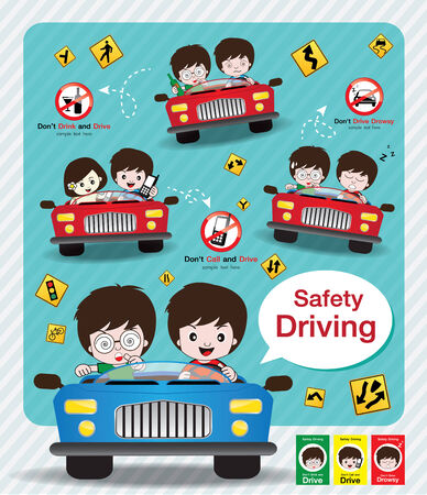 Safety Driving Sign Vector Vettoriali