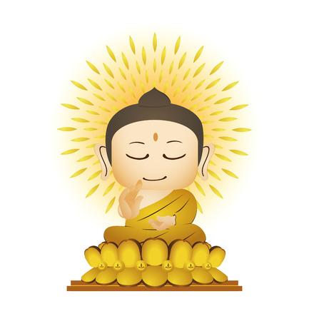 moine: Bouddha Cartoon Vector