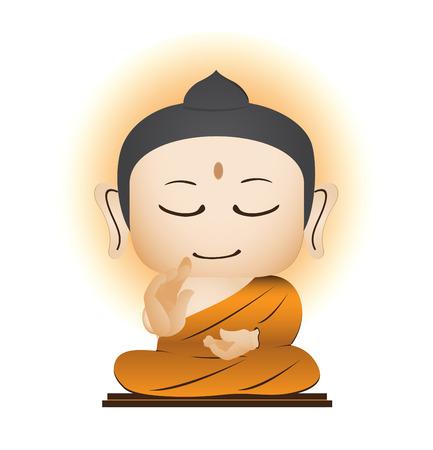 moine: Bouddha vecteur de bande dessinée