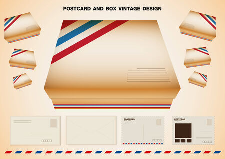 POSTCARD AND BOX VINTAGE DESIGN