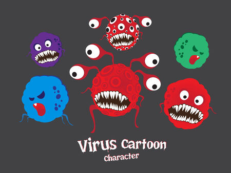 Virus stripfiguur Stock Illustratie