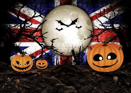 flag background: Halloween Festival and United Kingdom Flag Background