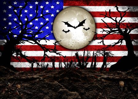 flag background: Halloween Festival and USA Flag Background